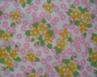 """Half Yard of Lecien Old New 30s Collection Yellow Floral Fabric.  Approx 18"""" x 44"""" Made in Japan"""