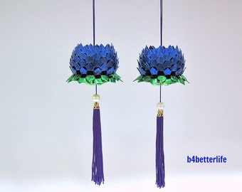 A Pair of Blue Color Size Small Origami Hanging Lotus. (Metallic Foil Paper).