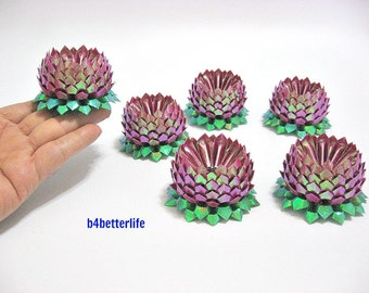 Lot of 6pcs Maroon Color Small Size Origami Lotus. (TX paper series).
