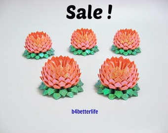 Sale! Lot of 5pcs Orange Color Small Size Origami Lotus. (RS paper series).