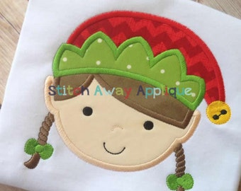 Christmas Elf Girl Face Machine Embroidery Applique Design
