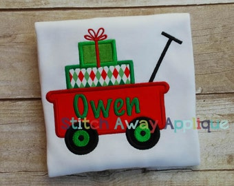 Christmas Gift Wagon Machine Embroidery Applique Design