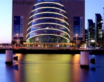 Dublin Convention Centre Photograph / Travel Print / Home Decor / Ireland Photography / Fpoe / City Lights Night Photography / Blue / Yellow
