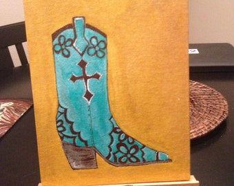 Cowgirl boots 9x7 inch acrylic painting