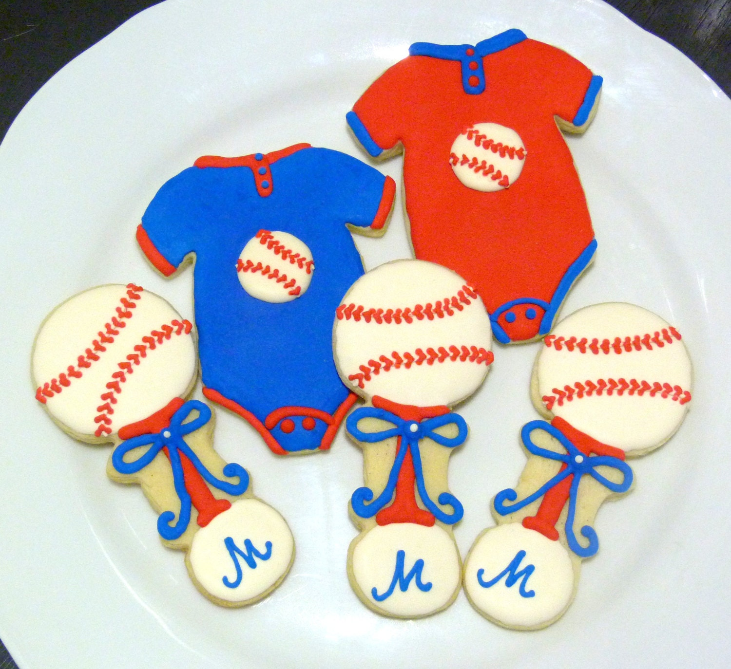 Handmade Baseball Theme Baby Shower Decorated By SweetRoseCookies