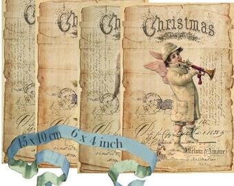 Vintage Angels 6 x 4 inch Instant Download digital collage sheet D208 vintage christmas angel anges