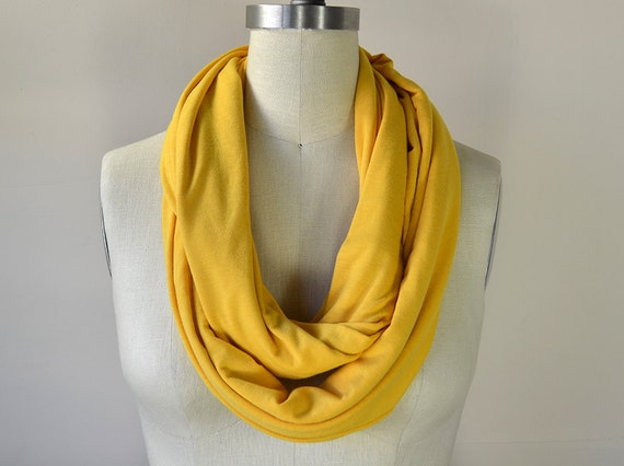mustard infinity scarf yellow jersey circle scarf by