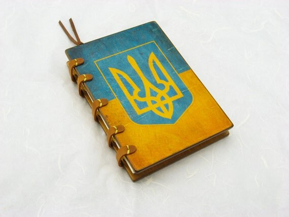Custom handmade wooden fashion journal  / Ukraine / Leather stripes / ready to ship