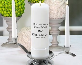 Personalized Wedding Unity Candle Set - One Love - GC330 CP6