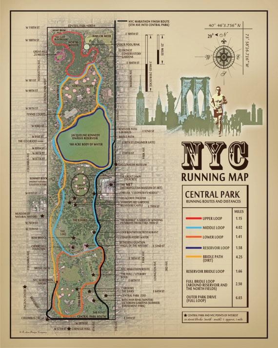 nyc central park 11x14 running route map vintage. Black Bedroom Furniture Sets. Home Design Ideas