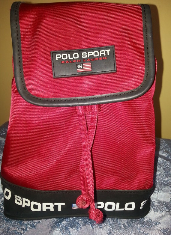 Ralph Lauren Polo Sport Mini Backpack red canvas with Flag