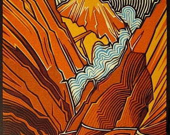 Original, hand pulled, color woodcut, 'Pass'.