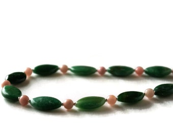 Green necklace, pink necklace, pink green necklace, morganite necklace, aventurine necklace, adventurine necklace, modern necklace