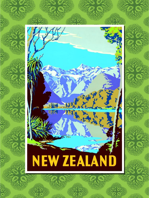 Wall decoration new zealand : New zealand travel poster wall decor print sizes available