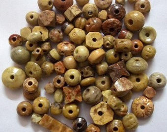 25 Pcs Hand Made & Natural  Soap Stone  Beads Mix, Soft Stone Beads Natural
