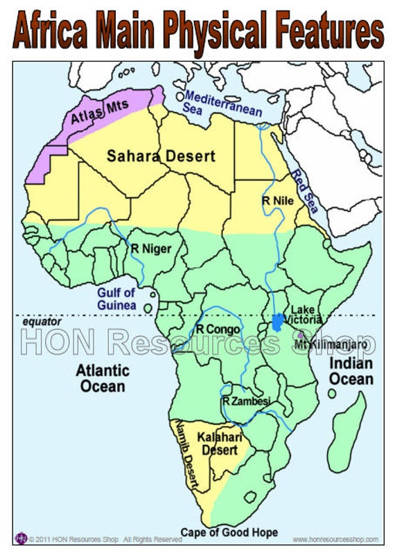 Africa Main Physical Features Map Printable by ...