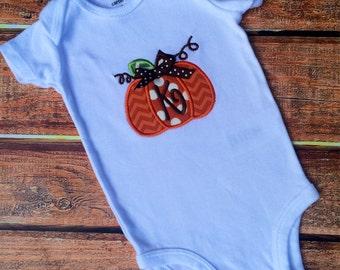 Monogrammed Pumpkin Shirt or Onesie - 3 fabric