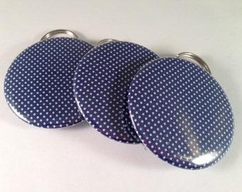 Classic White Polka Dot on Navy Bottle Openers