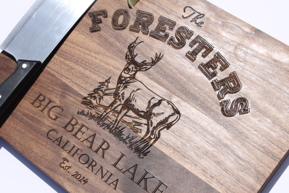Cutting Board for Dad, Personalized Cutting board for Fathers, Deer cutting board, Masculine cutting board Custom Engraved - 11 x 14 --6151