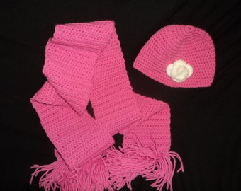 Toddler Crochet Hat and Scarf Set in Rose Pink