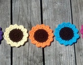 Crochet Flower Mug Rug Coaster 5 Piece Set with Brown Center