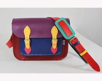 Satchel Multicoloured satchel Leather Satchel Student satchel Handmade Satchel Made in Britain Leather Handbag