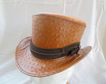 Steampunk Leather Top Hat With Ostrich Leather and Chain by Artrix Leather and Fine Art
