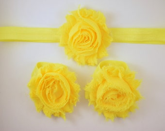 Neon Yellow  Headband and Barefoot Sandal Set - Baby Headband - Barefoot Baby Sandals