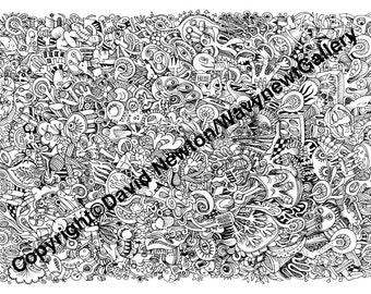 1. Instant PDF Download Hand Drawn Zentangle Inspired 'Mindjunk' Coloring Colouring Page Abstract Zendoodle Black and White Drawing