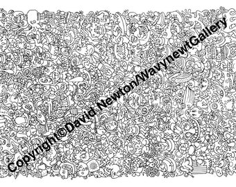 5. Instant PDF Download Hand Drawn Zentangle Inspired 'Mindjunk' Coloring Colouring Page Abstract Zendoodle Black and White Drawing