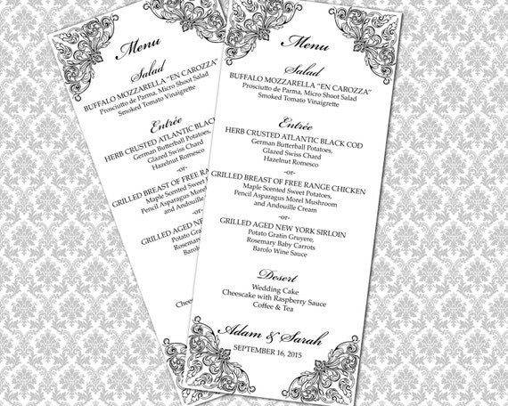 diy mod le de menu mariage imprimable th par weddingsbyjaniev. Black Bedroom Furniture Sets. Home Design Ideas