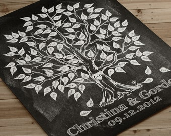 Wedding Guest Book alternative, Chalkboard art Signature Tree,Wedding Tree, Wedding Poster, Wedding Print,Guest Book Tree, Q003