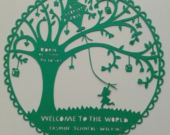 Welcome to the world, hand cut Paper Cutting. New Baby gift. Personalise it for free!