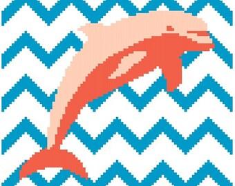 Chevron Dolphin - Cross Stitch Pattern - Instant Download