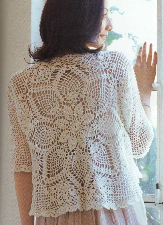 Free Crochet Pattern Lace Sweater : Crochet Pineapple Lace Cardigan Pattern Japanese by ...