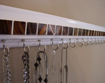 "jewelry organizer .This necklace holder rack in brown glass mosaic tile design 30"" w/ 23 hooks.Necklace organizer jewelry storage.great gift"