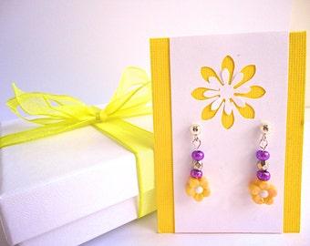 Little girl flower dangly earrings, Yellow flower earrings, Fun gift for kid girls, Cute children's Earrings, Nickle Free earrings for kids