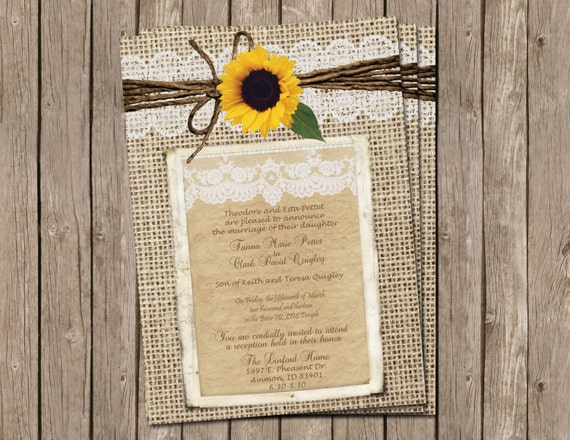 Burlap and Lace Wedding Invitation Sunflower Digital file