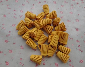 25pcs gold yellow Suede Tassel--Fiber Tassel--Fringe Tassel--cute fat tassel--35x15mm--T3354-25