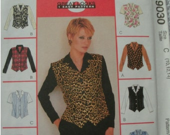 Misses Tops Sizes 10-12-14 McCalls 8 Great Looks One Great Pattern 9030 Petite-Able Mint UNCUT Pattern 1997