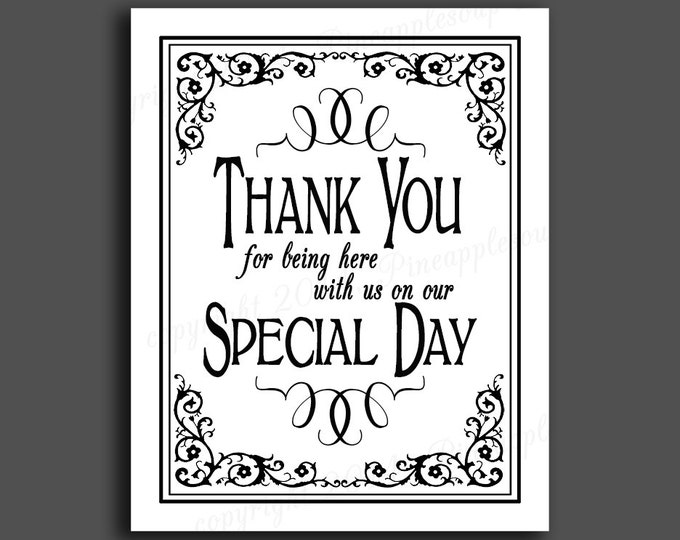 Printable Wedding THANK YOU sign - 5x7, 8x10 or 11 x 14 - instant download digital file - DIY - Black Tie Collection - traditional