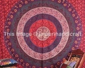 Indian Mandala Bedspread, Beautiful Indian Mandala Tapestry,  Hippie Hippy Indian Wall Hanging, Queen Bedcover Ethnic Decorative Art
