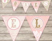 HORSE Banner Shabby Lace Glitter Glam Cowgirl Printable Theme LARGE Personalized Girl Birthday Party Vintage Package Digital Download Horse