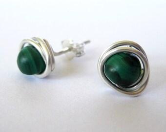 Green Malachite Post Earrings in Argentium Silver
