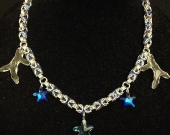 Ocean Dreams chainmaille/swarovski necklace
