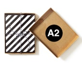 25 - A2 - Kraft Greeting Card Boxes with Clear Top Lid / Box Lids Set / Note Cards Invitations Flat Wholesale Bulk Retail Packaging