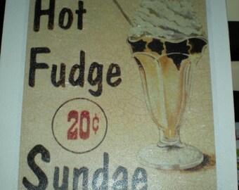 SALE* Vintage Retro Hot Fudge Sundae Canvas print - Size 25.4 x 30.5 cm - Hand made