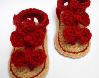 Baby Seaside Crochet Sandals/ Crocheted Baby Slippers/Newborn Shoes/SIZE:0-6 months/ Your Choice of Color(s)