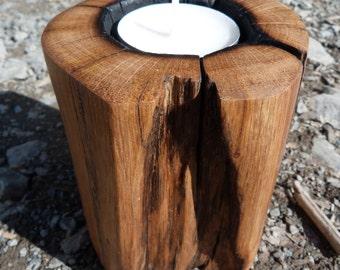 Smooth finish bone oak candle holder