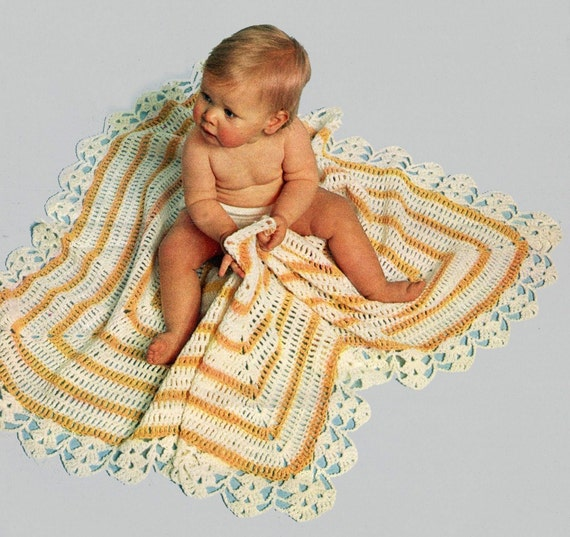 BLANKET with GORGEOUS BORDER Easy Crochet Baby Pattern